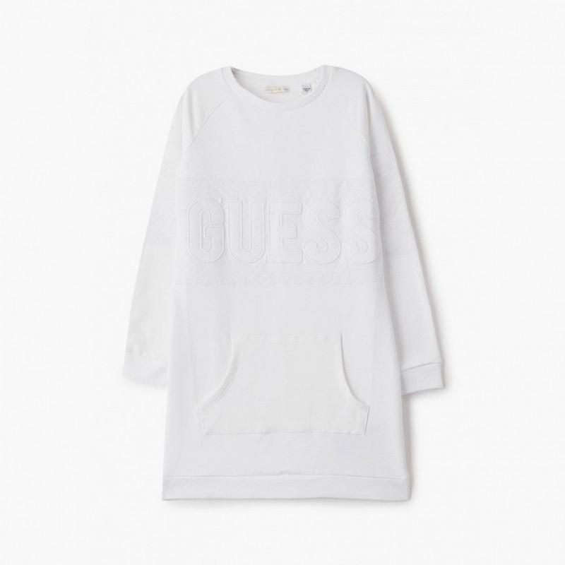 Guess - Vestido recto blanco con bordado
