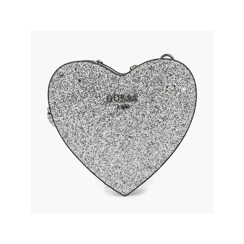 GUESS - Bolso corazón plata