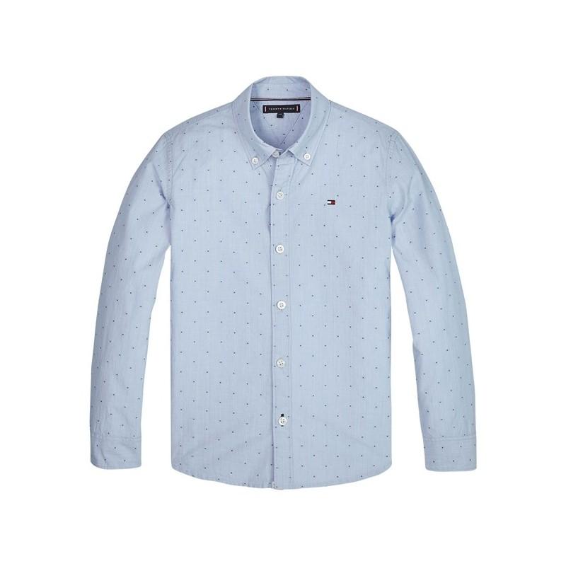 Tommy Hilfiger camisa celeste manga larga