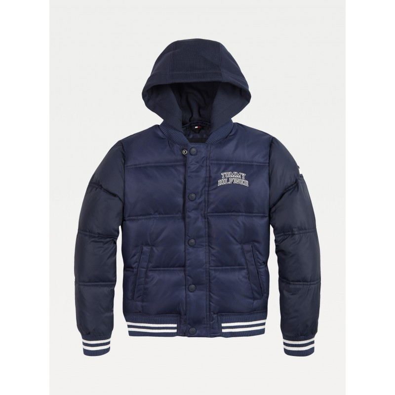 Tommy H. HOODED PADDED QUILTED BOMBER