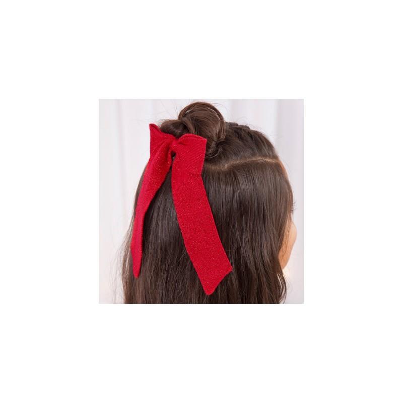 Abel & Lula - Coletero lazada de tricot rojo con brillo