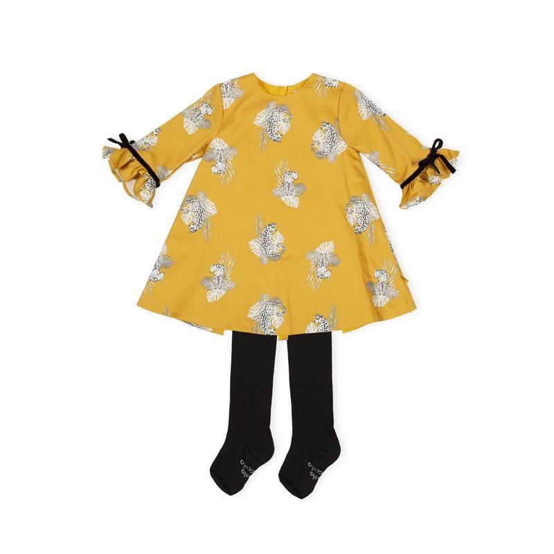 Tutto Piccolo - Vestido color mostaza con leotardo