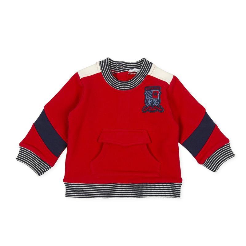 Tutto Piccolo - Sudadera roja con bolsillo delantero