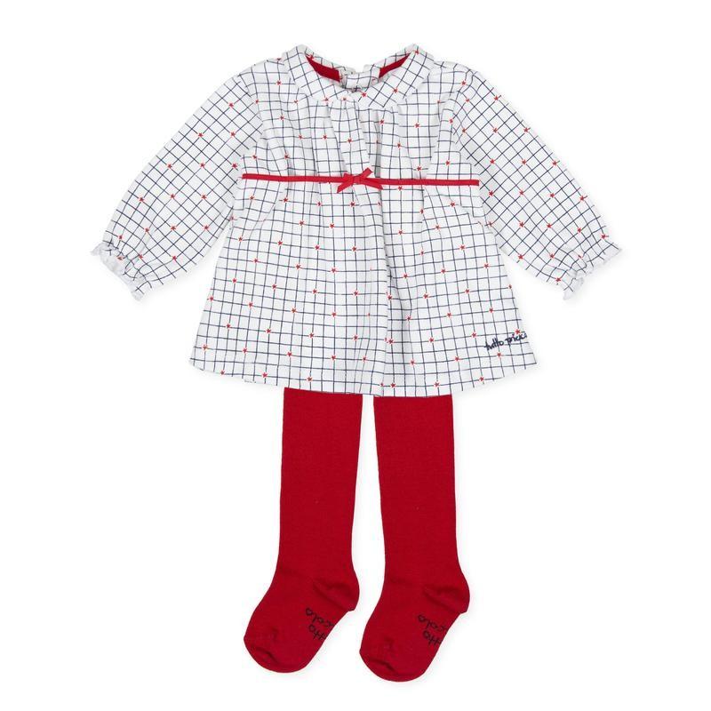 Tutto Piccolo - Vestido de cuadros con leotardos rojos