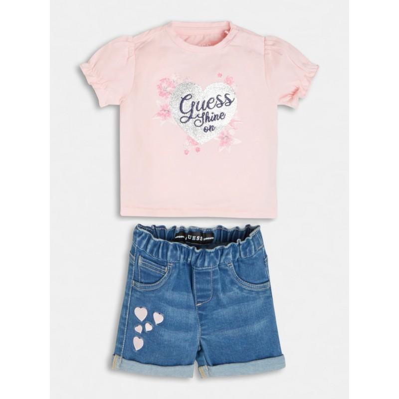GUESS - Conjunto de camiseta y pantalón corto vaquero