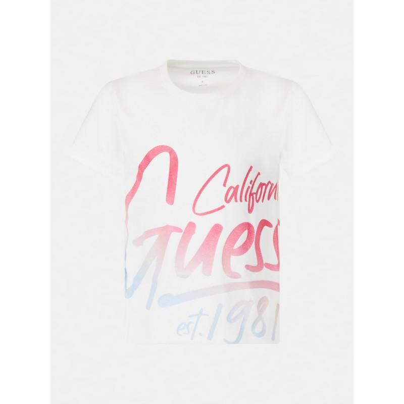 GUESS - Camiseta con estampado de purpurina
