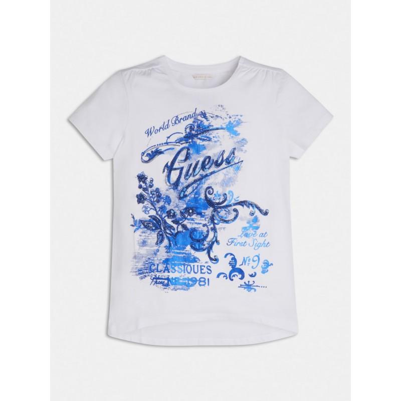 GUESS - Camiseta con bordado de lentejuelas