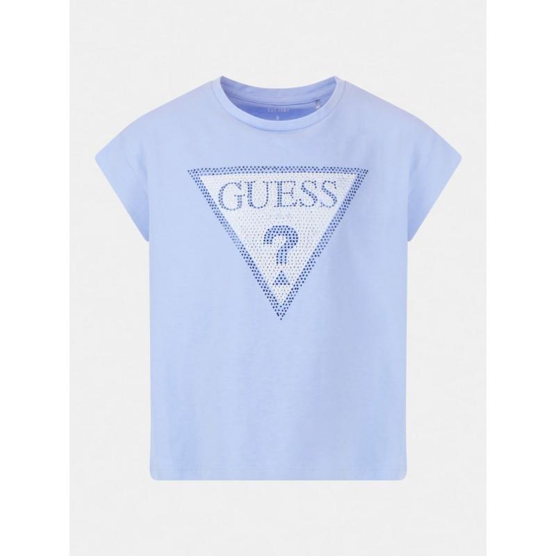 GUESS - Camiseta con logo strass