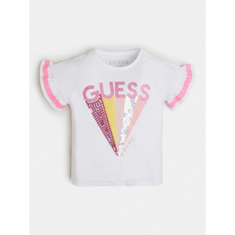 GUESS - Camiseta con lentejuelas y purpurina