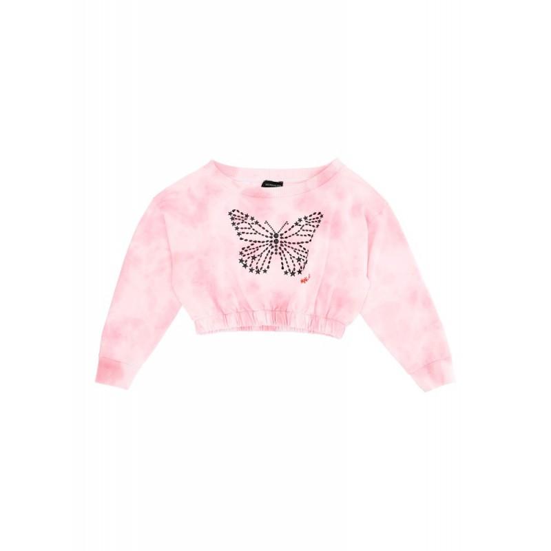 MONNALISA - Sudadera corta mariposa