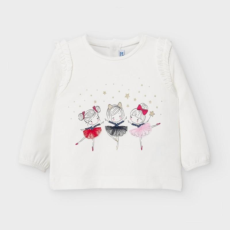 Mayoral - Camiseta crudo de manga larga con bailarinas