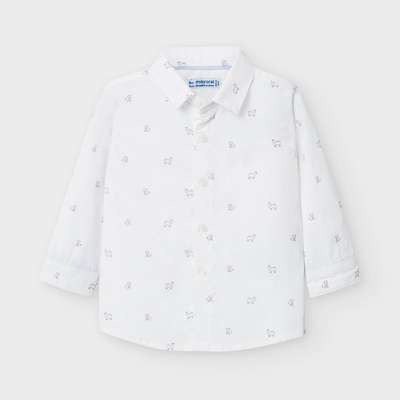 Mayoral - Camisa blanca de manga larga estampada con perros