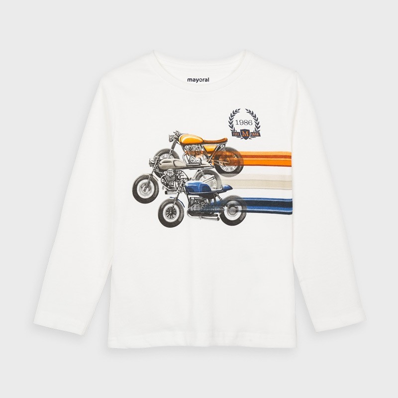Mayoral - Camiseta blanca manga larga de carrera