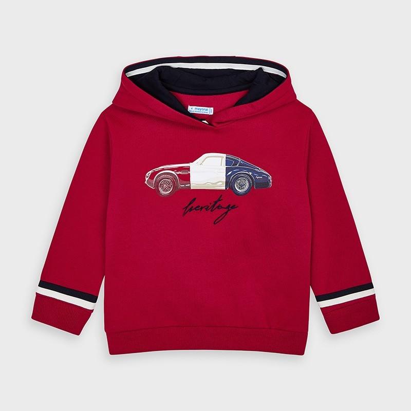 Mayoral - Sudadera roja con capucha y dibujo de coche