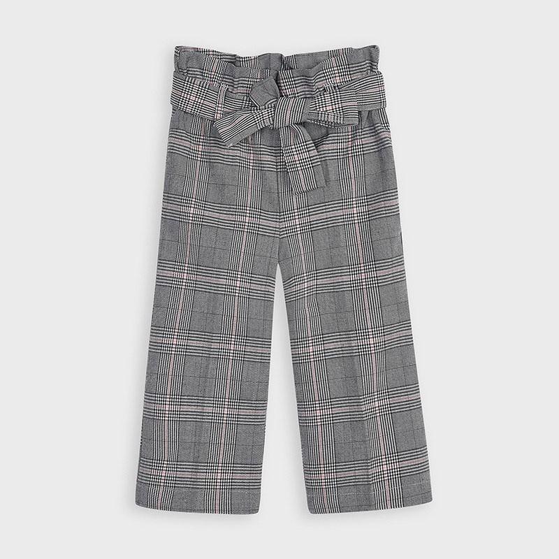 Mayoral - Pantalon gris de cuadros con cinturón