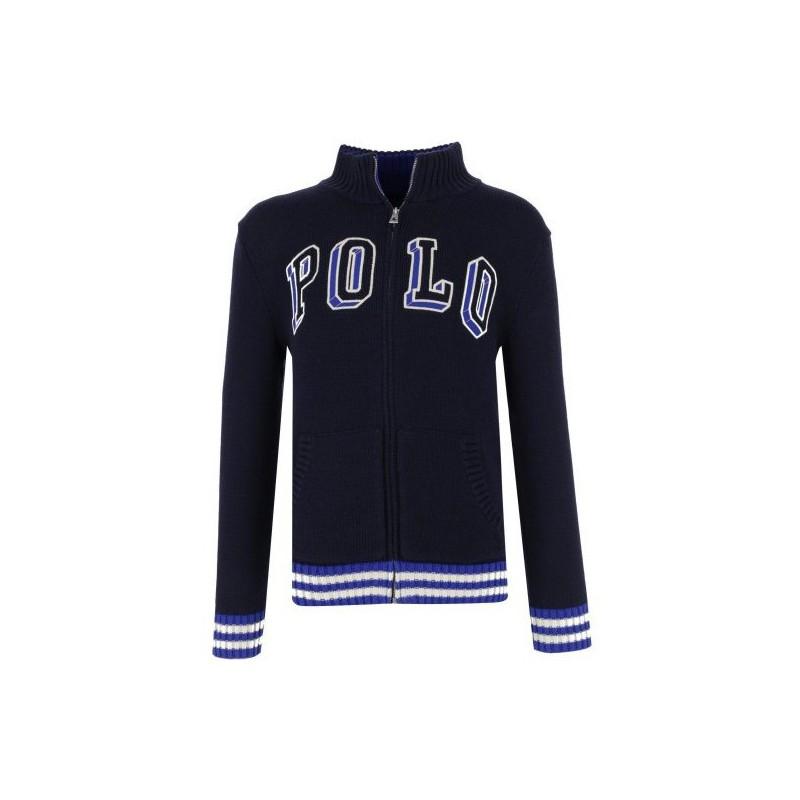 POLO RALPH - Jersey azul marino con bordado y cremallera