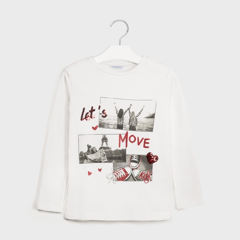 Mayoral - Camiseta crudo manga larga con serigrafia