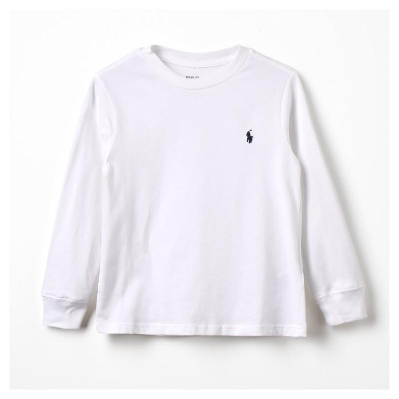 POLO RALPH - Camiseta blanca de manga larga con bordado
