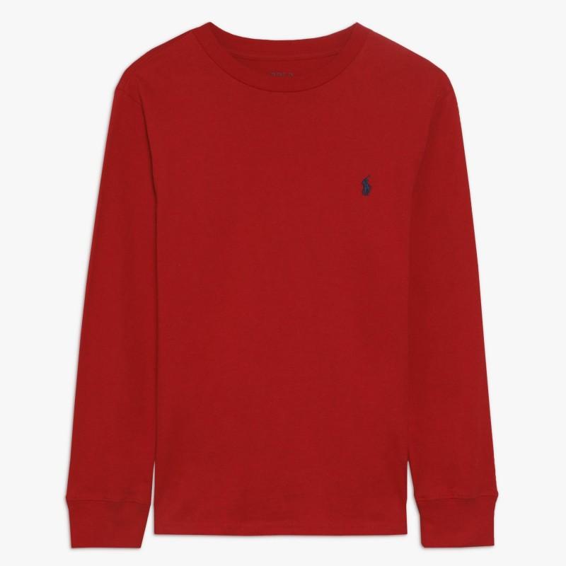 POLO RALPH - Camiseta roja de manga larga con bordado