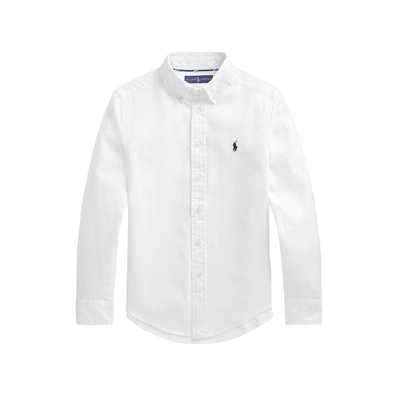 POLO RALPH - Camisa blanca de manga larga con bordado