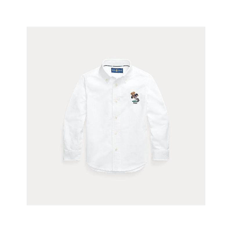 POLO RALPH - Camisa blanca con bordado de oso futbolista