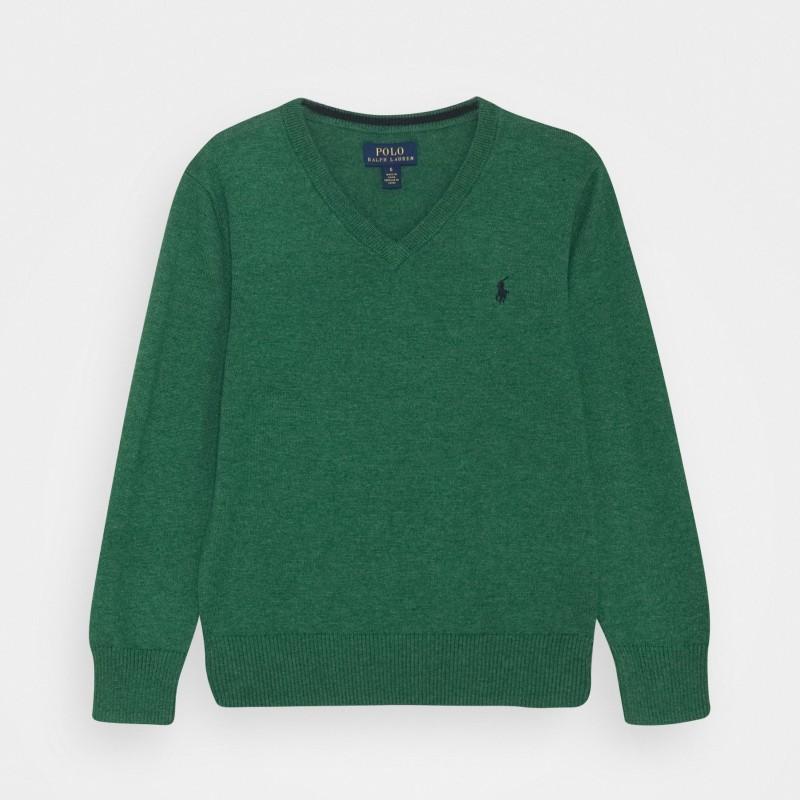 POLO RALPH - Jersey verde de cuello de pico con bordado