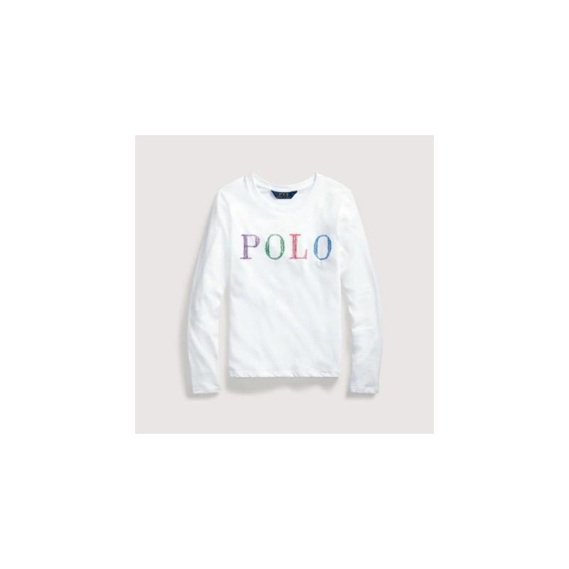 POLO RALPH - Camiseta de niña blanca con logo efecto crayon