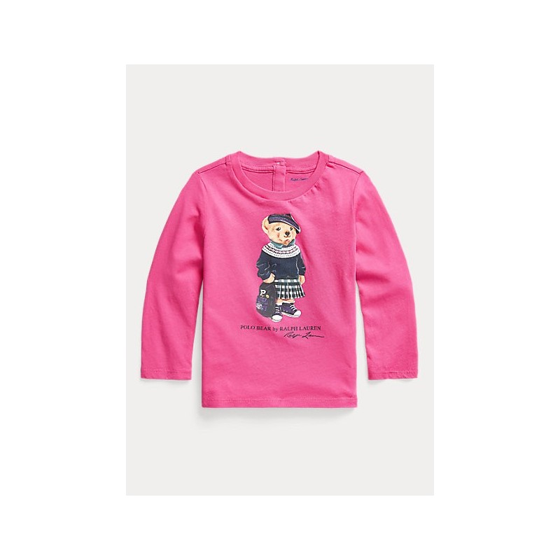 POLO RALPH - Camiseta rosa con bordado de oso